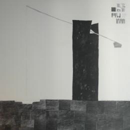 Fantana lui Nicu, grafit colaj panza, 100. 100 cm