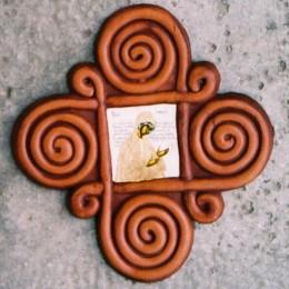 Crucea in 4 izvoare-tempera ceramica 18x18cm