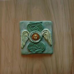 Heruvim 12- ceramica,acrilic,lemn - 20'20cm