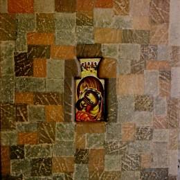 Maica domnului cu pruncu - colaj frunza de vita tempera lemn - 38x27cm